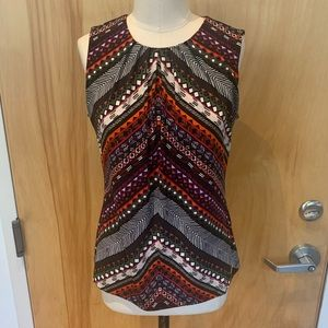 Aztec inspired printed tank - pleated neck detail